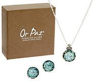 Or Paz Sterling Silver Roman Glass Necklace & Earrings Set - J351150