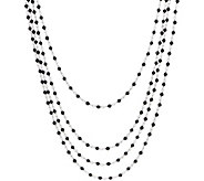 Italian Silver 61.20 ct tw Black Spinel Sterling 100 Necklace - J351550