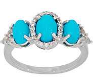 Sleeping Beauty Turquoise & White Zircon Three Stone Ring, Sterling - J355150