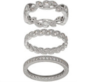 Diamonique Set of Three Milgrain Design Eternity Bands, Sterling Silver - J356750