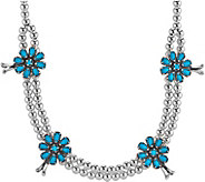 American West Sterling Turquoise Squash BlossomNecklace - J377950