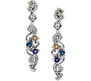 Carolyn Pollack Sterling Multi Gemstone Drop Earrings - J378350