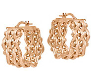 Italian Silver Woven Hoop Earrings - J383050