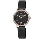 Vince Camuto Womens Rosetone Black Mesh Bracelet Watch - J383450
