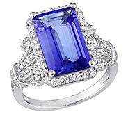 14K Gold 4.80 cttw Octagon Tanzanite & 6/10 cttw Diamond Ring - J383650