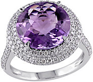 14K 5.45 cttw Amethyst and 7/10 cttw Diamond Ring - J392350