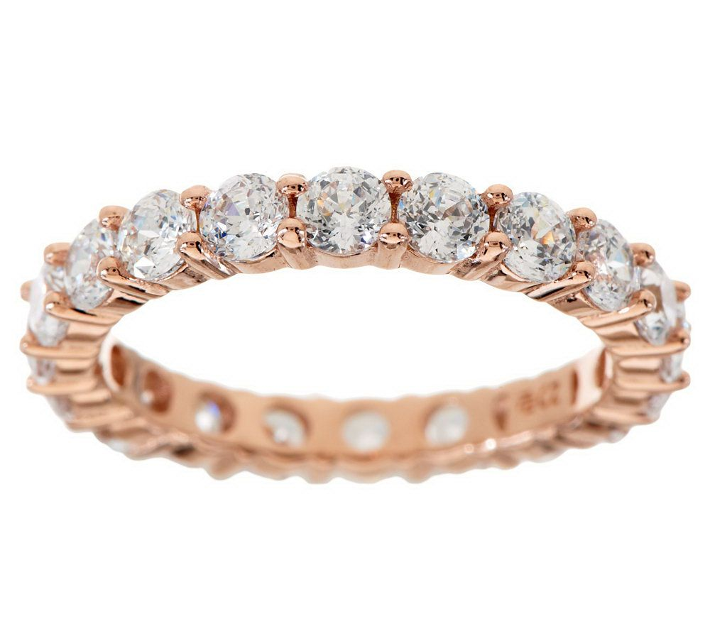 Diamonique 100 Facet Eternity Band Ring 14k Clad Or Sterling J274851
