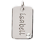 Posh Mommy Sterling Mini Dog Tag Simulated Birthstone Pendant - J300051