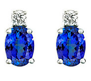 Premier 1.20cttw Tanzanzite & 1/8cttw Diamond Earrings, 14K - J336151
