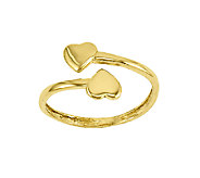 Polished Double-Heart Wrapped Toe Ring, 14K Gold - J336451