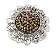 Champagne Diamond Flower Ring, 0.65cttw, Sterling, by Affinit - J339251