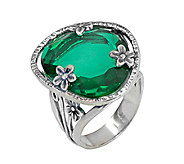 Or Paz Sterling Simulated Emerald Ring - J339551