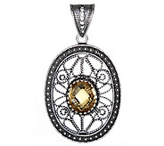 Artisan Crafted Sterling Oval Filigree Gemstone Pendant - J342651
