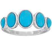 5-stone Oval Sleeping Beauty Turquoise Sterling Band Ring - J347751