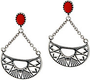 American West Red Coral Sterling Silver Sun Ray Dangle Earrings - J348451