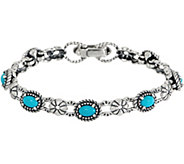 American West Sleeping Beauty Turquoise Sterling Silver Tennis Bracelet - J352851