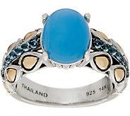 JAI Sterling Silver & 14K Gold Blue Agate Lotus Petal Band Ring - J353951