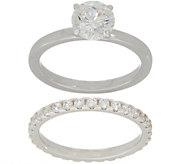 Diamonique Round Bridal Ring Set, Sterling Silver or 14K Clad - J354751