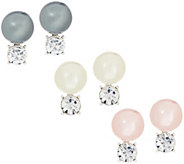 Joan Rivers Set of 3 Simulated Pearl & Crystal Stud Earrings - J355051