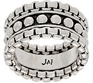JAI Sterling Silver Wide Box Chain Band Ring - J356051