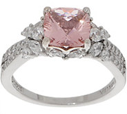 Diamonique Simulated Morganite Cushion Cut Ring, Sterling - J356751