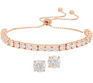Diamonique Stud Earrings and Adjustable Bracelet Set, Boxed, Sterling - J358351