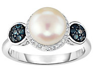 Honora Cultured Pearl 8mm & Diamond Halo Sterling Ring - J383851