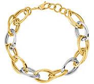 Italian Gold 14K Oval Crossover Link Bracelet,10.1g - J384851