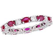 14K Gold Ruby & Diamond Eternity Band Ring - J385151