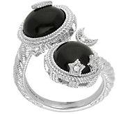 Judith Ripka Sterling Black Onyx Bypass Ring - J387751