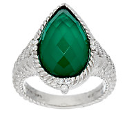 Judith Ripka Sterling Green Goddess Pear Shaped Doublet Ring - J292352