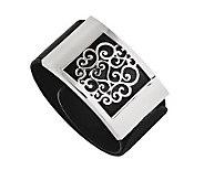 Stainless Steel Black Leatherette Scroll Wrap Bracelet - J313252