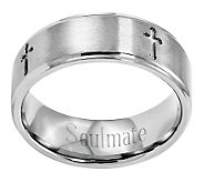 Stainless Steel 8mm Brushed Cross Engravable Ring - J314252