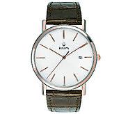 Bulova Mens Brown Leather Strap Watch - J316552