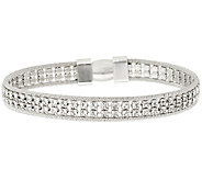 Italian Silver Sterling Double Row Crystal Tennis Bracelet - J320452