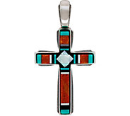American West Sterling Silver Gemstone Inlay Cross Enhancer - J347352