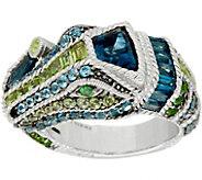 Judith Ripka Sterling Silver Gemstone Carmen Crocodile Ring, 5.95 cttw - J349552