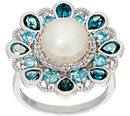 Honora Cultured Pearl & Gemstone Flower Ring, Sterling Silver - J351352