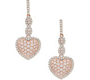 Natural Pink Diamond Heart Design Earrings 5/8 cttw, 14K, by Affinity - J354852