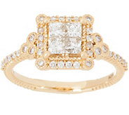 Judith Ripka 14K Gold Square Diamond Seamless Ring, 1.00cttw - J355352