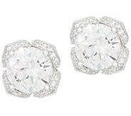 Diamonique 4.25 cttw Tulip Setting Stud Earrings, Platinum Clad - J356852