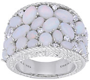 Judith Ripka Sterling Opal and Diamonique Saddle Ring - J380552