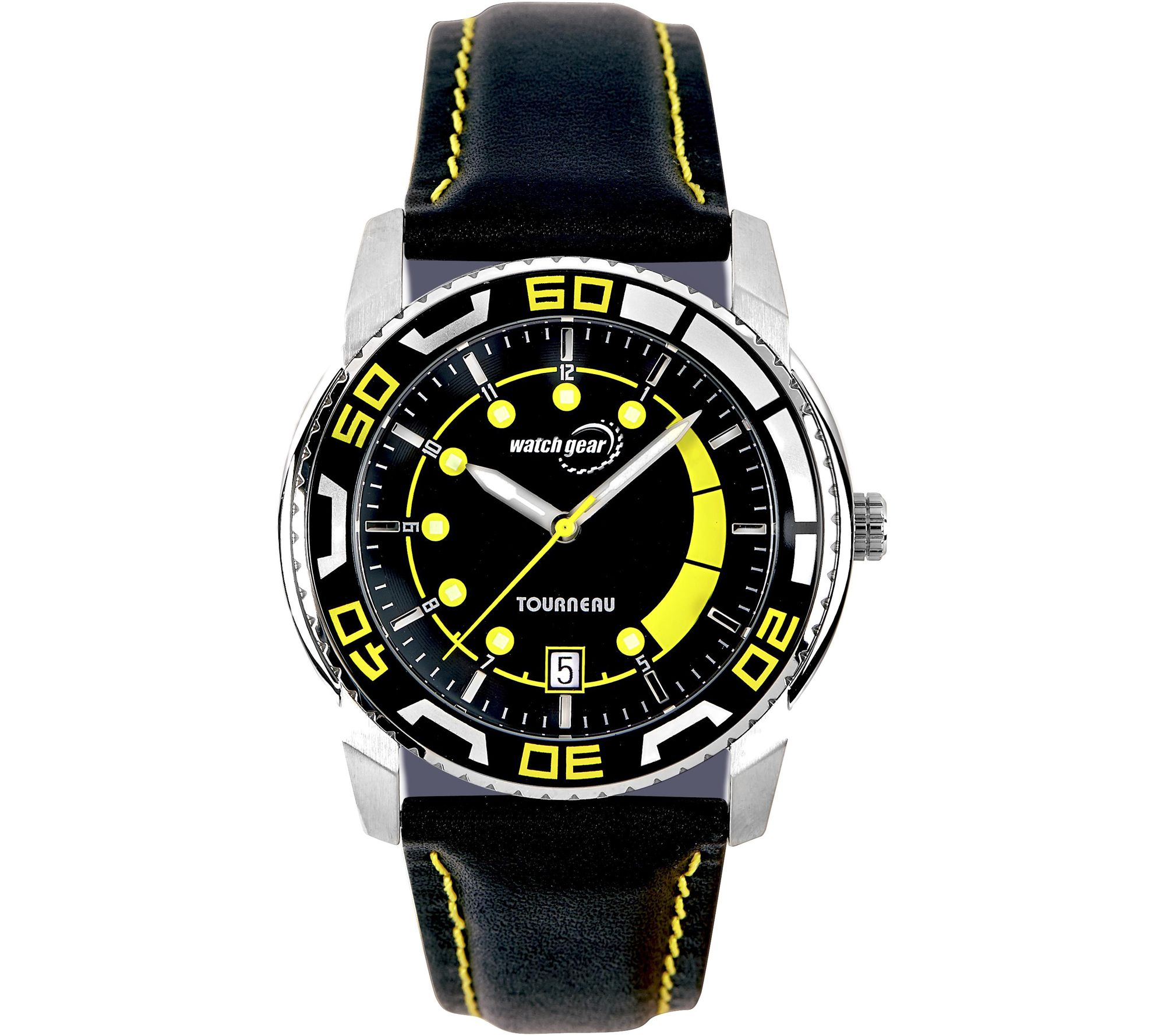 Tourneau Men's Stainless Black Leather Strap Sport Watch — QVC com
