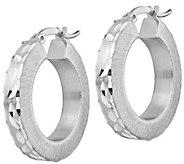 Italian Silver 1 Diamond-Cut Hoop Earrings - J383252