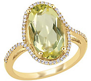 14K 7.00 cttw Lemon Quartz and 1/7 cttw DiamondRing - J392352
