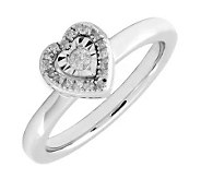 Simply Stacks Sterling Diamond Heart Ring withShining Center - J299253