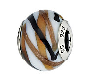 Prerogatives White/Brown/Black Sparkles ItalianMurano Bead - J300153