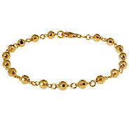 Veronese 18K Clad 10 Diamond-Cut Bead Anklet - J302453