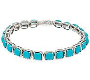 Sleeping Beauty Turquoise 7-1/4 Sterling Silver Tennis Bracelet - J324053