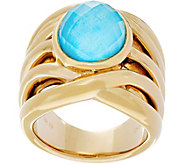 14K Gold Oval Gemstone Cross Over Design Ring - J334653